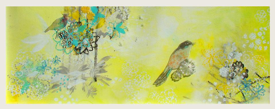 Pájaros en el bosque amarillo