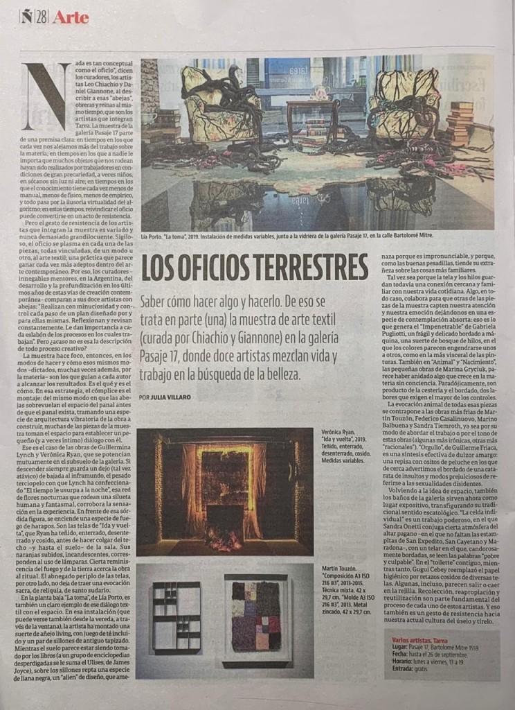 Los oficios terrestres por Julia Villaro para Revista Ñ